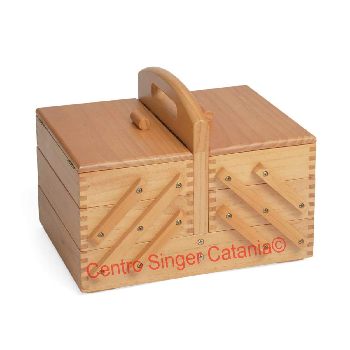Cestini Da Lavoro Per Cucito cestino porta lavoro in legno chiaro a 3 piani (medio)