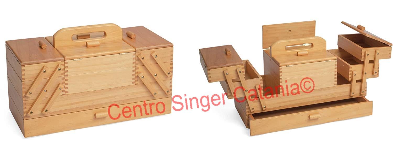 Cestini Da Lavoro Per Cucito cestino porta lavoro in legno chiaro a 3 piani (grande)
